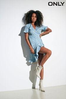 Only Blue Floral Ruffle Wrap Tea Dress