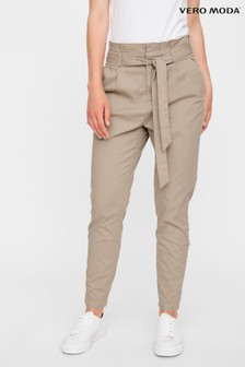 Vero Moda Neutral High Waist Paperbag Trousers