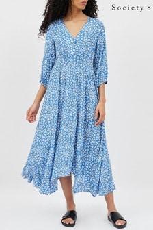 Society 8 Blue Hankerchief Hem Tea Dress