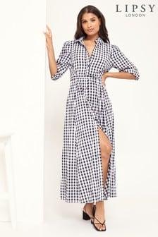 Lipsy Gingham Maxi Shirt Dress