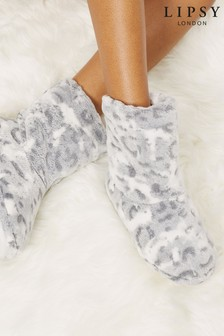 Lipsy Grey Leopard Ruched Slipper Bootie