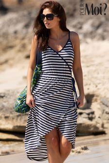 Pour Moi Blue Jersey Wrap Front Cami Midi Dress