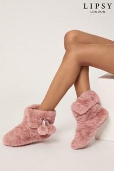 Lipsy Nude Pink Faux Fur Bootie Slipper