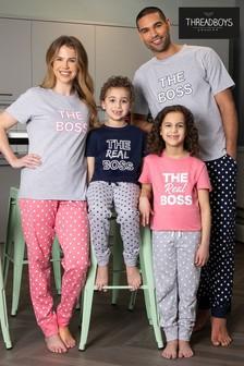 Threadboys Navy Boss Cotton Pyjama Set