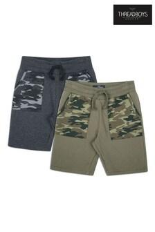 Threadboys Grey 2 Pack Fleece Shorts