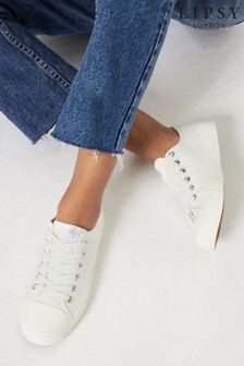 Lipsy White Wide Fit Low Top Canvas Trainer