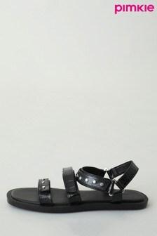 Pimkie Black Studded Faux Crocodile Sandals