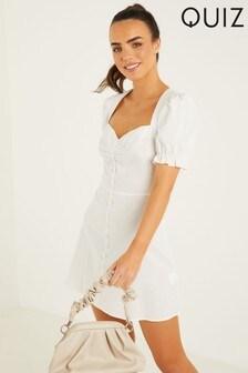 Quiz White Sweetheart Skater Dress