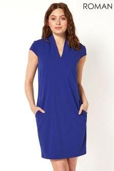 Roman Blue Oriental Cold Shoulder Chiffon Maxi Dress