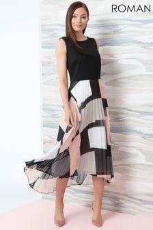 Roman Black/White Fit And Flare Pleated Midi Dress
