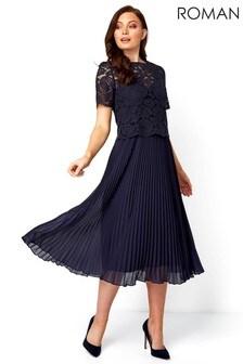 Roman Navy Lace Top Overlay Pleated Midi Dress