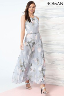 Roman Grey Lace Top Overlay Pleated Midi Dress