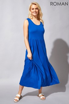 Roman Blue Crochet Back Jersey Maxi Dress