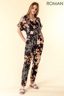 Roman Black Belted Floral Print Jumpsuit