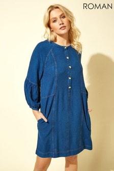 Roman Blue Button Detail Denim Panel Dress