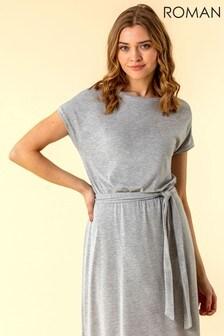 Roman Grey Belted Jersey Midi T-Shirt Dress