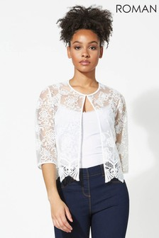 Roman Ivory Short Floral Embroidered Jacket