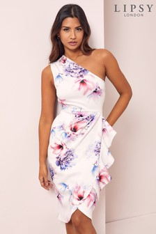 Lipsy White Floral One Shoulder Bodycon Dress