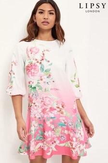 Lipsy Pink Floral Frill Hem Shift Dress