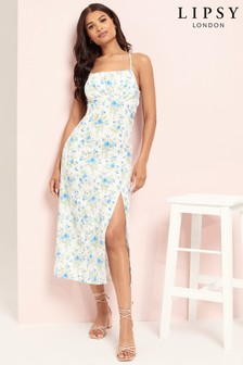 Lipsy Blue Floral Milkmaid Maxi Dress
