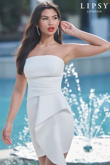 Lipsy Ivory Bandeau Scuba Frill Dress