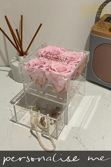 Personalised Year Lasting Real Roses 4 Piece Makeup Box by Eternal Blossom