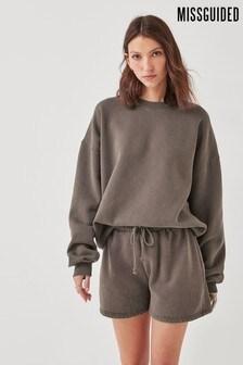 Missguided Brown Acid Wash Sweater & Short Lounge Set