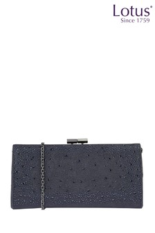 Lotus Footwear NAVY Diamante Clutch Bag
