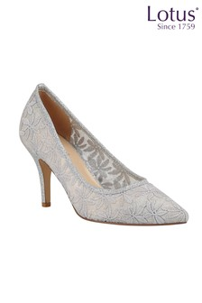 Lotus Footwear SILVER Floral Court Shoes