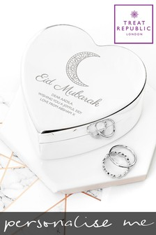 Personalised Eid Mubarak Heart Trinket Box By Treat Republic