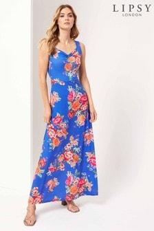 Lipsy Blue Floral Jersey Maxi Dress
