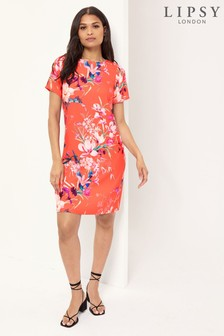 Lipsy Red Floral Shift Dress