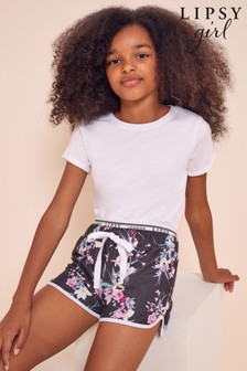 Lipsy Black Tropical Logo Waistband Shorts