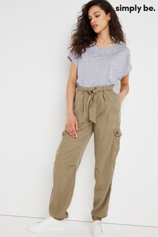 Simply Be Brown Soft Tencel Cargo Pant