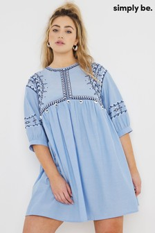 Simply Be Blue Embroidered Chambray Smock Dress