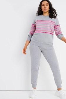 Simply Be Purple Stripe Sweatshirt