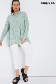 Simply Be Green Dipped Back Button Through Tunic