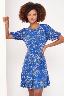 Lipsy Cobalt Short Sleeve Ruched Mini Dress