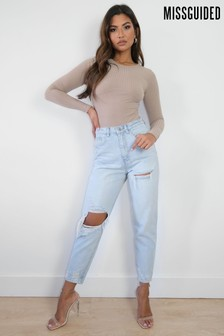 Missguided Blue Riot Thigh Slash Open Knee Mom Jean