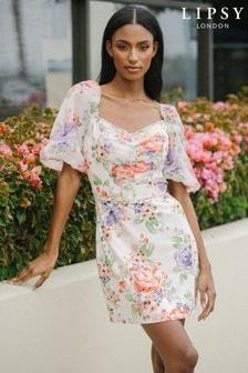 Lipsy White Printed Puff Sleeve Belted Mini Dress