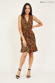 Mela Blue London Animal Wrap Mini Dress