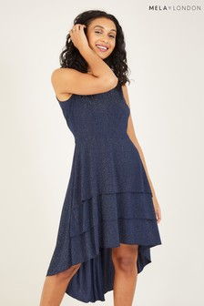 Mela Blue London Ruffle Asymmetric Dress