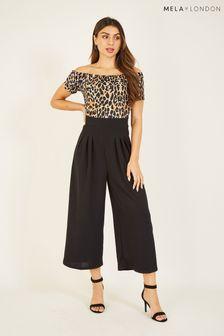 Mela Black London Leopard Print Bardot Jumpsuit