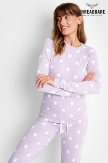 Threadbare Lilac Star Print Long Sleeve Cotton Pyjama Set