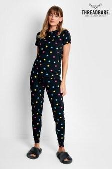 Threadbare Black Star Print Cotton Short Sleeve Loungewear Set