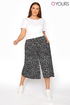 Yours Black Animal Spot Culotte