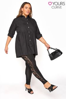 Yours Black Lace Panel Legging