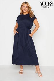 Yours Navy Blouson Pocket Maxi Dress