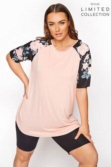 Yours Limited Pink Flroal Sleev Raglan T Shirt