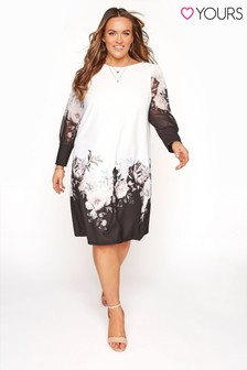 Yours White Floral Border Shift Dress With Chiffon Sleeves Dress